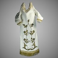 An Old Virgin Statue Vestment Dress in Satin & Silk Fabric with Gold Gilded Embroidery Mexico
