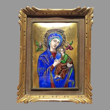 An Antique Enamel Religious Plaque Our Lady of Perpetual Help Icon French
