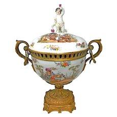 An Antique Large KPM Hand Painted Porcelain Lidded Bowl Bronze Mounts