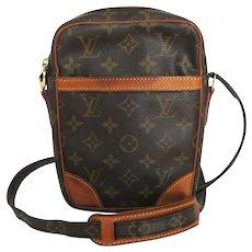 Authentic LOUIS VUITTON Monogram Canvas Leather Danube Cross Body Bag