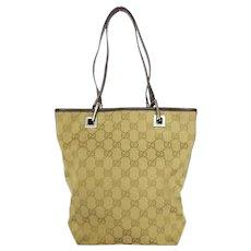 Authentic GUCCI Beige Dark Brown Original GG Canvas Leather Handbag Bag Purse