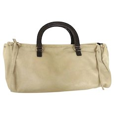 Authentic PRADA Beige Dark Brown Leather Handbag Purse