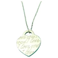 Authentic TIFFANY & CO Sterling Silver I Love You Heart Tag Pendant Necklace