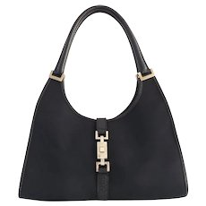 Authentic GUCCI Canvas Leather Black Jackie Shoulder Bag purse