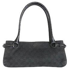 Authentic GUCCI Original GG Canvas Leather Dark Grey Black Shoulder Bag Purse