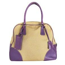 Authentic PRADA Beige Purple Canvas Leather Handbag Purse