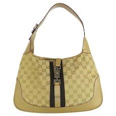 Authentic GUCCI Original GG Canvas Leather Beige Jackie Shoulder Bag Purse