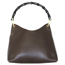 Authentic GUCCI Dark Brown Black Leather Bamboo Handle Handbag Purse with Pouch