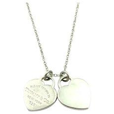 87d3c0e70 Authentic TIFFANY & CO Silver Return to Tiffany Mini Double Heart Tag  Necklace