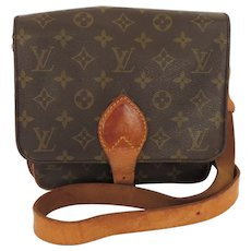 Authentic LOUIS VUITTON Monogram Canvas Leather Cartouchiere MM Cross Body Bag