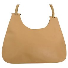 Authentic GUCCI Beige Leather Bamboo Handle Shoulder Bag Purse