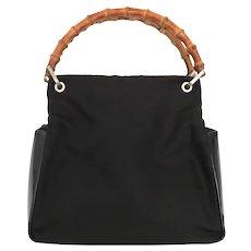 Authentic GUCCI Black Nylon Leather Bamboo Handle Handbag Bag Purse