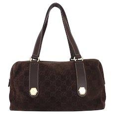Authentic GUCCI Dark Brown Original GG Suede Leather Handbag Purse