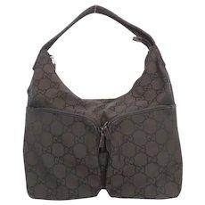 Authentic GUCCI Dark Brown Original GG Nylon Leather Shoulder Bag Purse