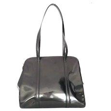 Authentic PRADA Black Patent Leather Shoulder Bag Purse