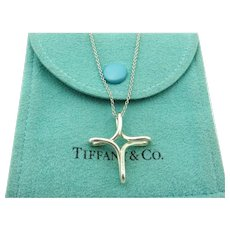 Authentic TIFFANY & CO Sterling Silver Infinity Cross Pendant Necklace