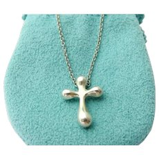 Authentic TIFFANY & CO Sterling Silver Cross Pendant Necklace