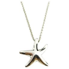 Authentic TIFFANY & CO Sterling Silver Starfish Pendant Necklace