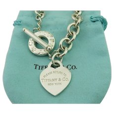 Authentic TIFFANY & CO Sterling Silver Return to Tiffany Heart Toggle Necklace