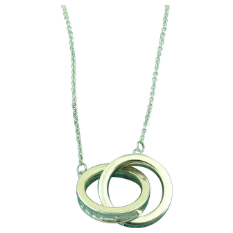 Authentic TIFFANY & CO Silver 1837 Interlocking Circles Pendant Necklace