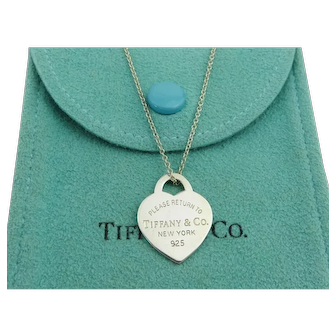 Authentic TIFFANY & CO Silver Return to Tiffany Heart Tag Pendant Necklace