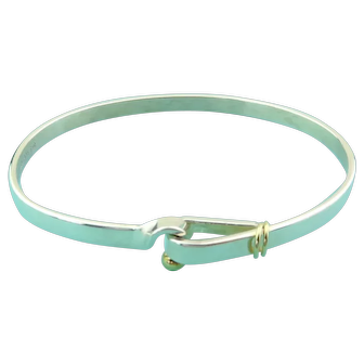 Authentic TIFFANY & CO Sterling Silver 18K Gold Love Knot Bangle Bracelet