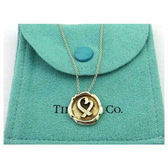 Authentic TIFFANY & CO Sterling Silver Seal of Love Heart Pendant Necklace