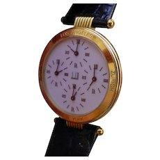 Very Rare 1990s Alfred Dunhill 4 Time Zones Banker Wristwatch, 18K Gold with Box and Papers.