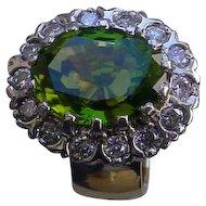 14K Gold Ring 6.39 Carat Vivid Green Peridot w/ 0.96 Cts. Diamonds