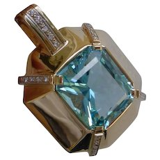 Gorgeous 22.10 Carat Aquamarine Set in 14K Gold Pendant w/ Diamonds.