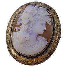 Amazing 19th Century Large Cameo Set 14K Gold Brooch, Bacchante