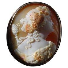 Antique Shell Cameo, Museum Quality, 14K Gold, Bacchante