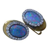 Gorgeous Cuff Links Of B.B. King's  14K Gold, Black Opal And Diamonds.