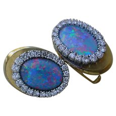 Gorgeous Cuff Links Of B.B. King's  14K Gold, Australian Opal And Diamonds.