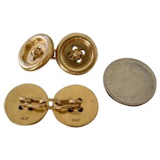 Beautiful 14K Gold Button Cuff Links