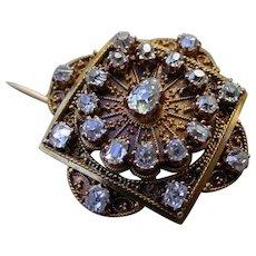 Beautiful Antique Broach 18K Gold, Diamonds, Hand Fabricated