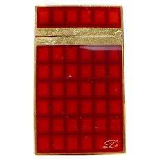 "S.T. Dupont ""Vertigo"" Briquet Montparnasse Lighter, Gold, Red/Brown Lacquer."