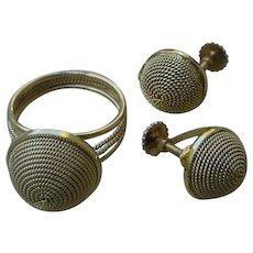 Ladies Ring & Earrings Ensemble 14K Gold