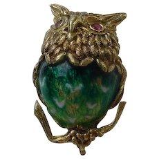 Beautiful 18K Gold, Enameled Owl Brooch By Rudi Cherny