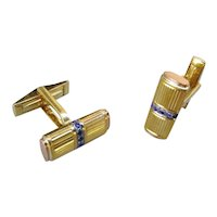 18K Gold Cuff Links By Gubelin w/Sapphires