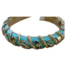 Tiffany & Co. Schlumberger 18K Gold, Green PAILLONNE` Enamel Bangle Bracelet