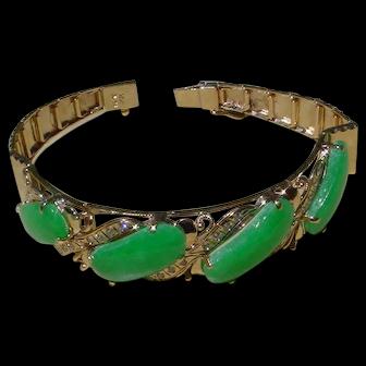 Ladies 18K Gold Bracelet Set w/ 4 Jadeite & 30 Diamonds.