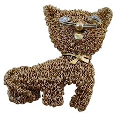 Gorgeous 14K & 18K Gold Wire Woven Brooch, Cat