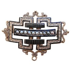 Beautiful 14K Gold Brooch w/ Enamel & Pearls