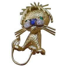 Whimsical Lion Brooch, 18K Gold, Diamonds, Emeralds.