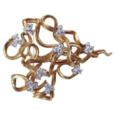 Awesome Mid 20th Century French 18K Gold Brooch w/ 27 Diamonds