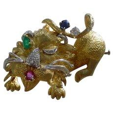 Fabulous Vintage 1960s 18K Gold Brooch, Diamonds, Ruby, Sapphire & Emerald.