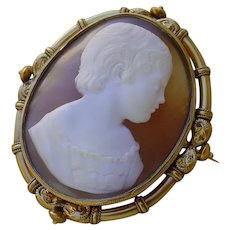 Large Museum Quality Shell Cameo Set In 18K Gold Frame.