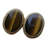 Beautiful 18K Gold Cuff Links Set w/ Tiger Eye Gems