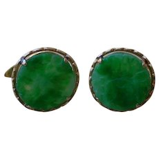 Beautiful Vintage 14K Gold & Jadeite Cuff Links, Made In China or Hong Kong